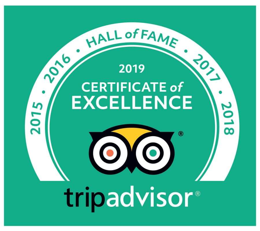 2018 TripAdvisor Certificate of Excellence and Hall of Fame after 5 years of outstanding reviews, Hermanus, South Africa